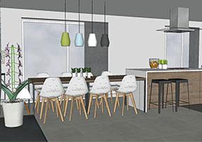 Aménagement cuisine, dressing et salle de bains